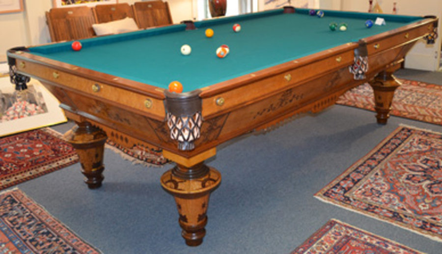Goodman, Leavitt U0026 Yatter Pool Table, Circa 1880. 9u0027x4u0027, Regulation Size.  Table Was Completely Restored In Boston In 2014. As You Look At The Photos,  ...